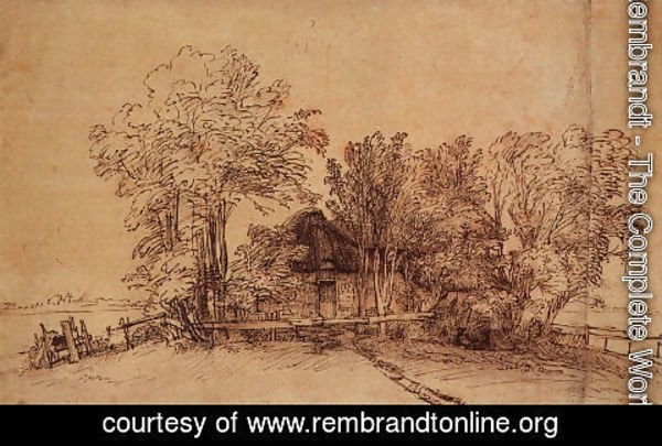 Rembrandt - Cottage Among Trees 1650-51