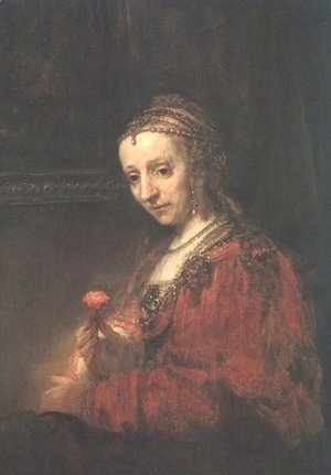 Rembrandt - Lady with a Pink