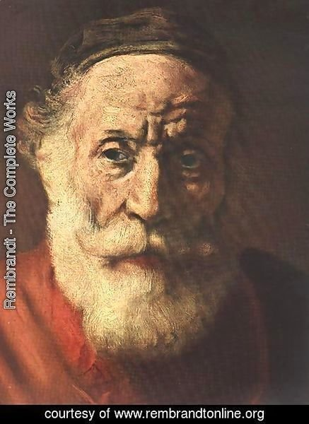 Rembrandt - Portrait of an Old Man in Red (detail -1) 1652-54