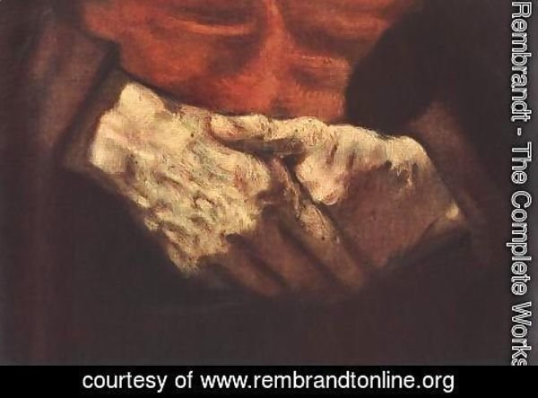 Rembrandt - Portrait of an Old Man in Red (detail -2) 1652-54