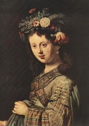 Saskia as Flora (detail) 1634