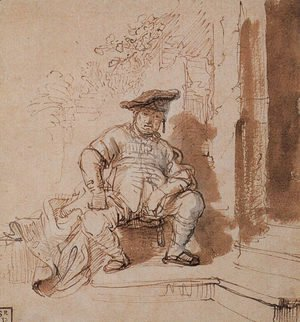 Rembrandt - Seated Man Wearing a Flat Cap