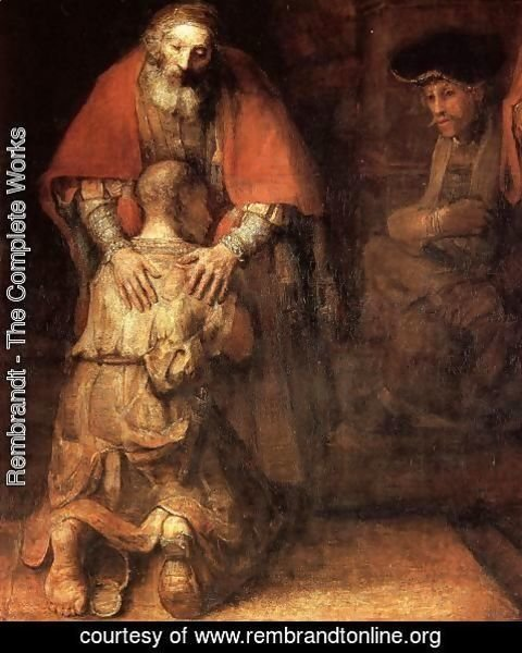Rembrandt - The Return of the Prodigal Son (detail -1) c. 1669