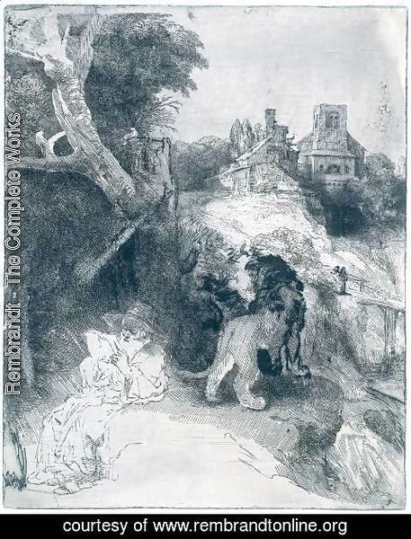 Rembrandt - St Jerome Reading in an Italian Landscape