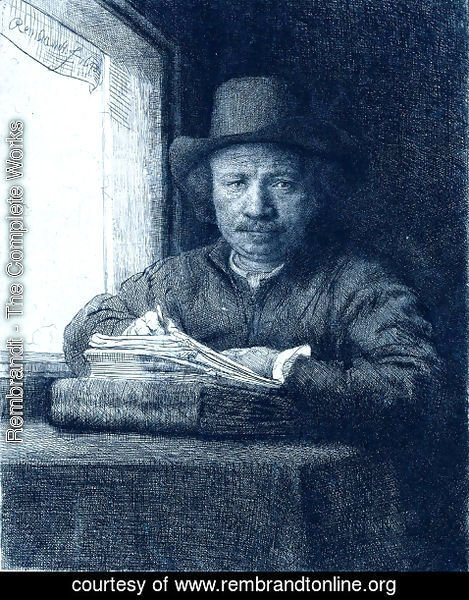 Rembrandt - Rembrandt drawing at a window