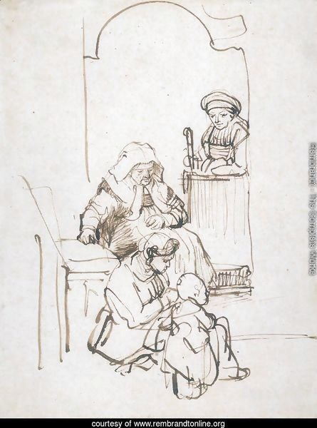 Three Women and a Child at the Door