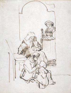 Rembrandt - Three Women and a Child at the Door