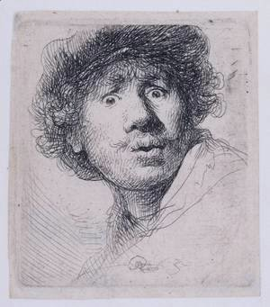 Rembrandt - Self Portrait with a Cap, openmouthed