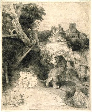 Rembrandt - St. Jerome Reading in an Italian Landscape