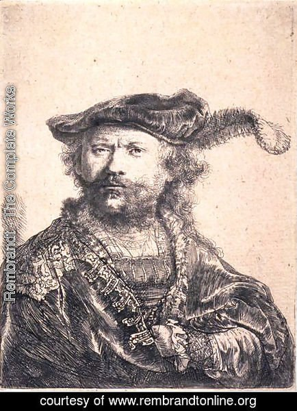 Rembrandt - Rembrandt in Velvet Cap and Plume