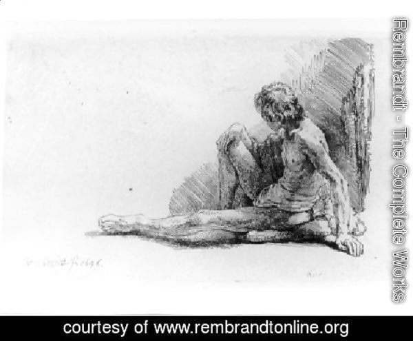 Rembrandt - Nude Man Seated on the Ground with One Leg Extended
