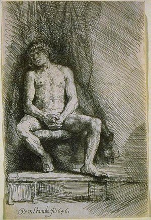 Rembrandt - Study from the Nude Man Seated before a Curtain
