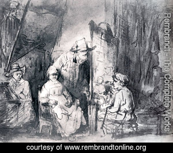 Rembrandt - Studio Scenne With Sitters