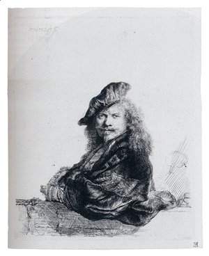 Rembrandt - Self-Portrait Leaning On A Stone Sill