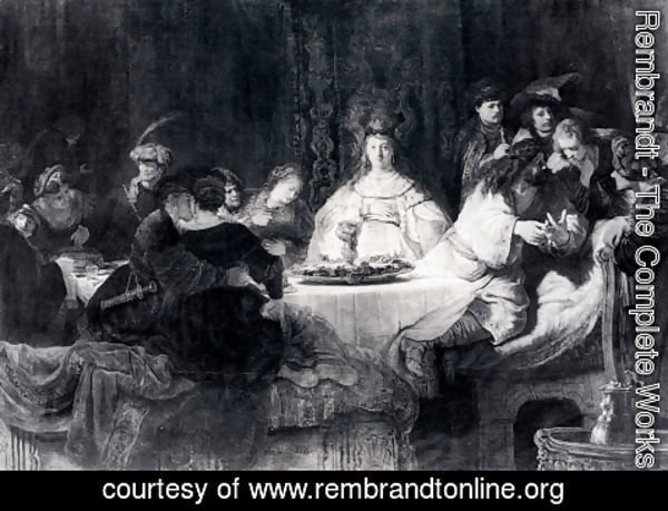 Rembrandt - Samson Posing The Riddle At His Wedding Feast