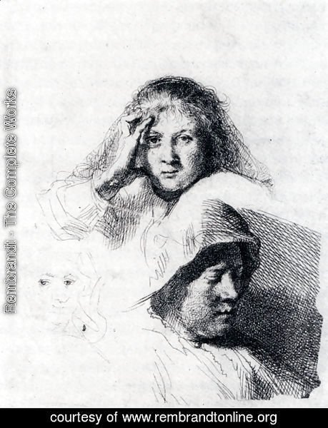Rembrandt - Sheet Of Sketches With A Portrait Of Saskia