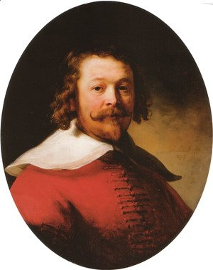 Rembrandt - Portrait of a bearded man, bust-length, in a red doublet