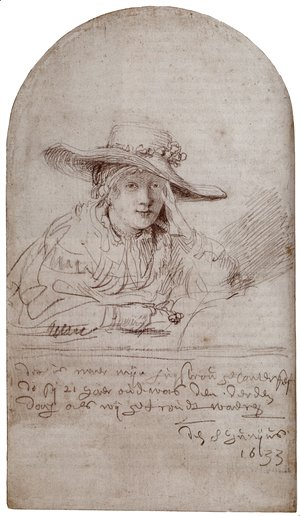 Rembrandt - Saskia In A Straw Hat