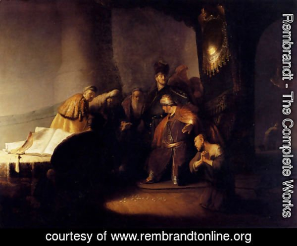 Rembrandt - Repentant Judas Returning The Pieces Of Silver