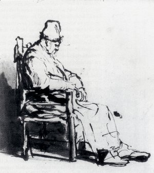 Rembrandt - Seated Old Man (possibly Rembrandt's father)