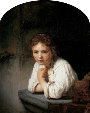 Rembrandt - A Young Girl Leaning on a Window-Sill