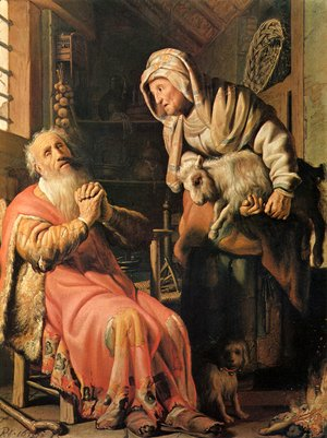 Rembrandt - Tobias, Ann and the goat, amsterdam 1626
