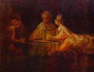 Rembrandt - Assuerus, Haman and Esther