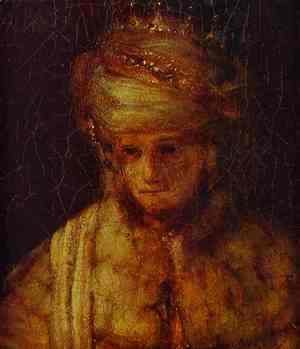 Rembrandt - Assuerus. Detail of Assuerus, Haman and Esther