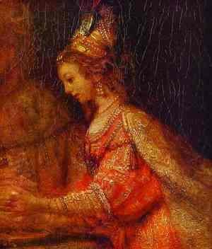 Rembrandt - Esther. Detail of Assuerus, Haman and Esther