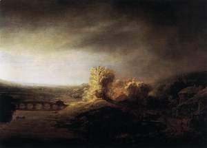 Rembrandt - Landscape with a Long Arched Bridge