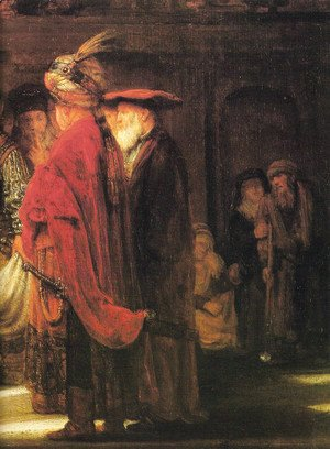 Rembrandt - Christ and the Woman Taken in Adultery (detail)