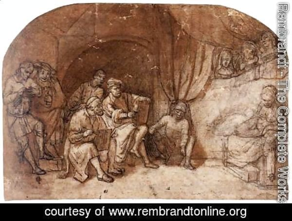 Rembrandt - Drawing from the Nude Model in Rembrandt's Studio