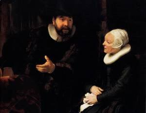 Rembrandt - The Mennonite Minister Cornelis Claesz. Anslo in Conversation with his Wife, Aal