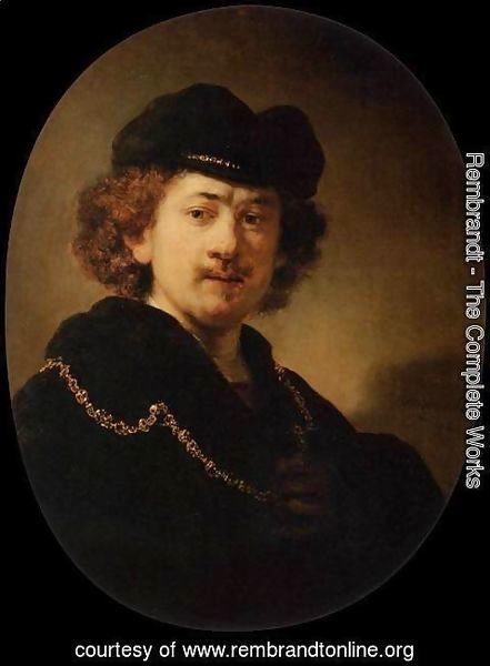 Rembrandt - Self-Portrait Wearing a Toque and a Gold Chain