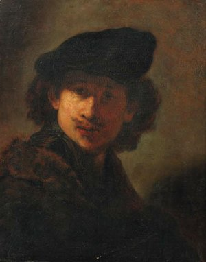 Portrait of the artist in a cap and a fur-trimmed cloak