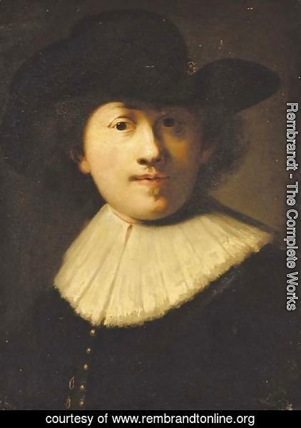 Rembrandt - Portrait of the artist, bust length, in a black coat and hat