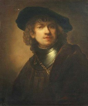 Self-portrait as a young man with a black beret