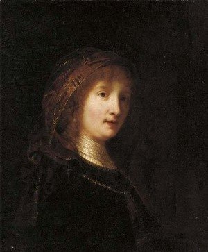 Rembrandt - Portrait of a lady, bust-length, wearing a headdress