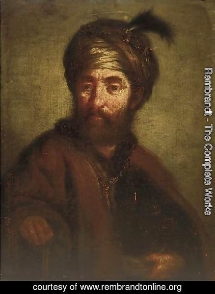Rembrandt - A man, half-length, in oriental dress