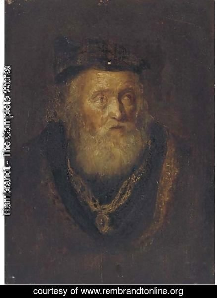 Rembrandt - An elderly man, bust-length, in a cap