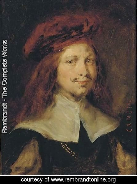 Rembrandt - Portrait of a gentleman, bust length, wearing a red cap