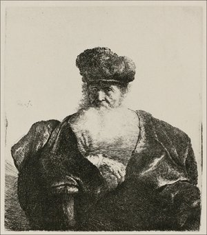 Rembrandt - An old Man with Beard, fur Cap and velvet Cloak