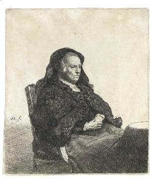 Rembrandt - The Artist's Mother seated at a Table, looking right
