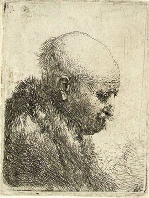 Rembrandt - A bald-headed Man in Profile right