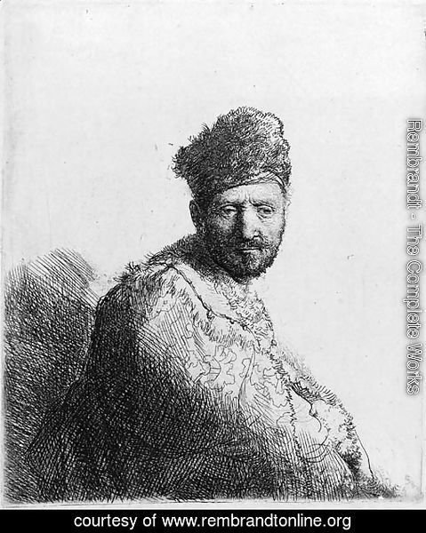 A bearded Man in a furred oriental Cap and Robe the Artist's Father