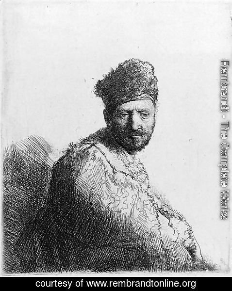 Rembrandt - A bearded Man in a furred oriental Cap and Robe the Artist's Father