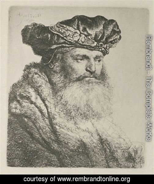 Rembrandt - A bearded Man in a Velvet Cap with a Jewel Clasp