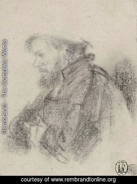 Rembrandt - A bearded man, half-length, in profile to the left