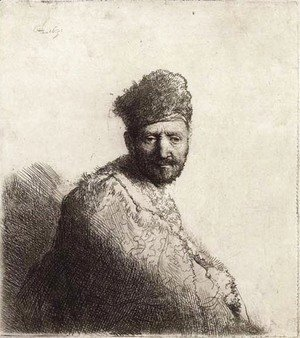 Rembrandt - A bearded Man, in a furred Oriental Cap and Robe The Artist's Father
