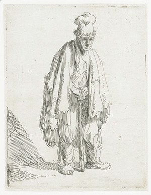A Beggar in a high Cap, standing and leaning on a Stick